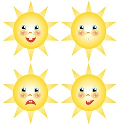 Sun smilies set of drawings vector