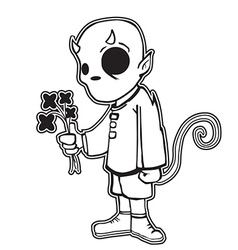 Little devil holding black flowers vector