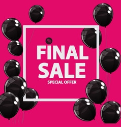 Abstract designs final sale banner in black pink vector