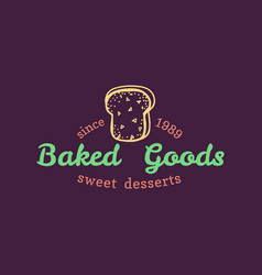 baked goods vintage bakery logo cupcake vector image