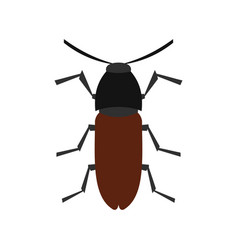 Brown bug icon flat style vector