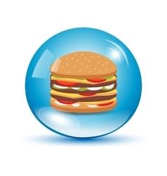 Burger in a water drop vector image vector image