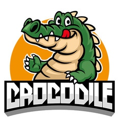 cartoon of crocodile mascot vector image