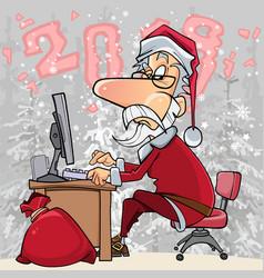 Cartoon santa claus working at a computer vector