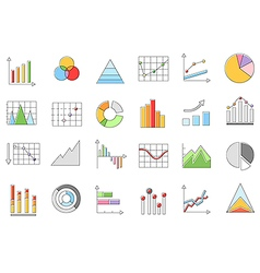 Charts icons set set vector image