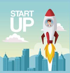 city landscape background star up business man vector image