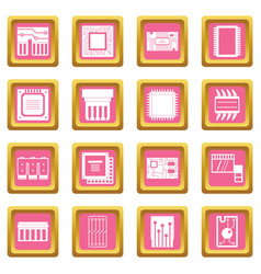 computer chips icons pink vector image vector image
