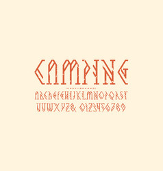 Decorative geometric serif font vector