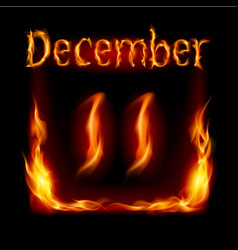 eleventh december in calendar of fire icon on vector image