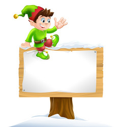 elf on snowy sign vector image vector image