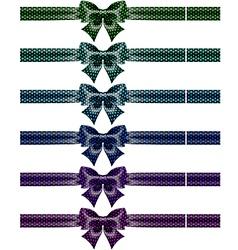 Festive black polka dot bows with ribbons vector image