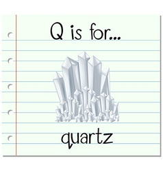Flashcard letter q is for quarts vector