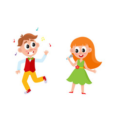 flat boy girl dancing and singing vector image