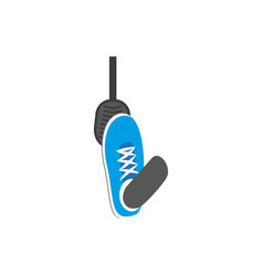 Flat foot pressing gas brake pedal icon vector