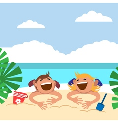 Funny kids on the beach boy and girl sunbathing on vector