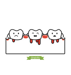 gingivitis and bleeding - cartoon flat line style vector image vector image
