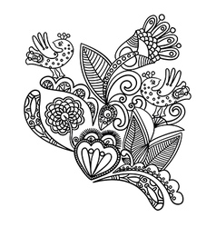 hand draw black flower and bird design vector image vector image