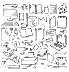 Hand drawn office set vector
