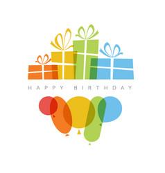 happy birthday with presents vector image