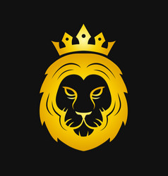 head of a gold fierce crowned lion logo vector image
