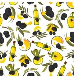 Healthful olive oil seamless pattern vector