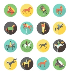 Horse icons set wild horses vector