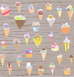 Ice cream set - retro style hand drawn vector image