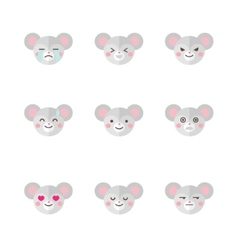 minimalistic flat mouse emotions icon set vector image