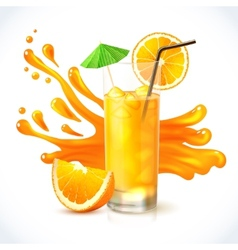 Orange juice ice vector