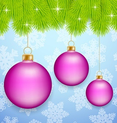 Pink Christmas baubles vector image vector image
