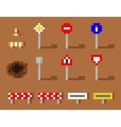 Pixel Art Road Sign Icon set brown road vector image vector image