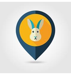 Rabbit flat pin map icon Animal head vector image