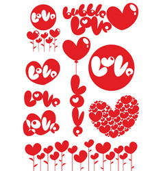 Romantic red love heart elements set vector