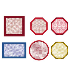 Round octagon and square table coasters vector