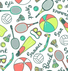 Seamless pattern with sport icons - volleyball vector