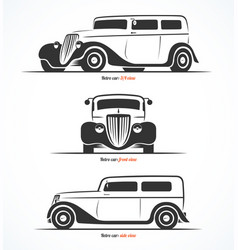 Set of retro car silhouettes vector