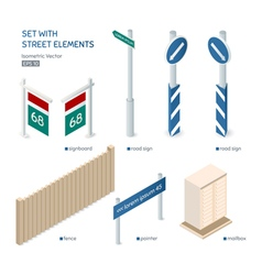 Set with isometric street elements city exterior vector
