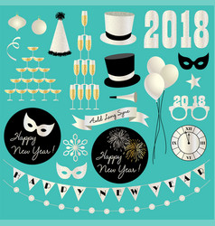 Silver glitter new years eve 2018 clipart vector