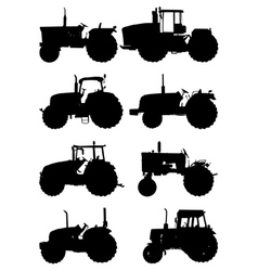 Tractor silhouettes vector image vector image