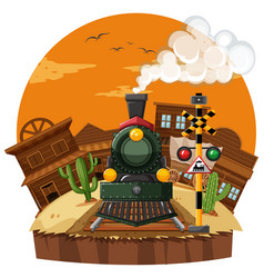 Train ride in the western town vector