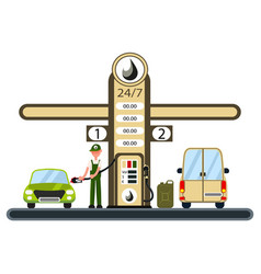 worker is filling the car at the gas station vector image vector image
