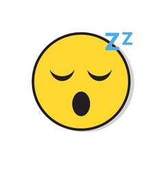 Yellow smiling face sleep positive people emotion vector
