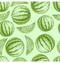 Seamless watermelon pattern fresh fruit sketch vector