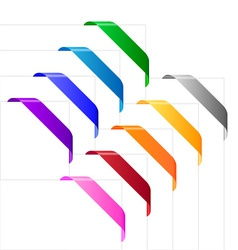 Corner ribbons in various colors vector
