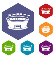 stadium icons set vector image