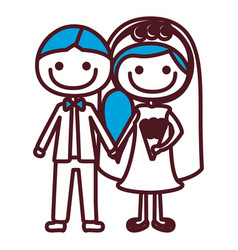 hand drawing silhouette caricature groom with vector image