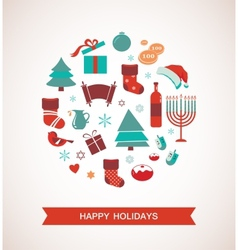 Merry christmas and happy hanukkah seasonal vector