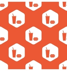 Orange hexagon fast food pattern vector