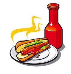 appetizing hotdog vector image