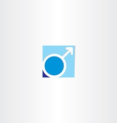 Male gender symbol blue icon vector